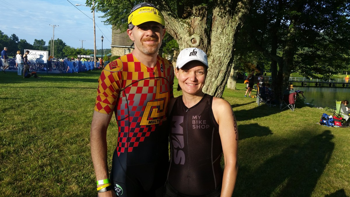 With my husband, Dave, prior to the start of the 2017 Ft. Ritchie Triathlon/Duathlon. Cascade, MD
