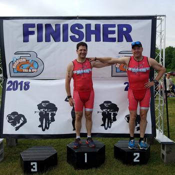 Super psyched for friend and teammate Paul Cottrell.  He rocked it in his first tri ever!  Super fun race in our hometown, Ortonville, MI.  The Big Fish Tri by 3 disciplines racing.