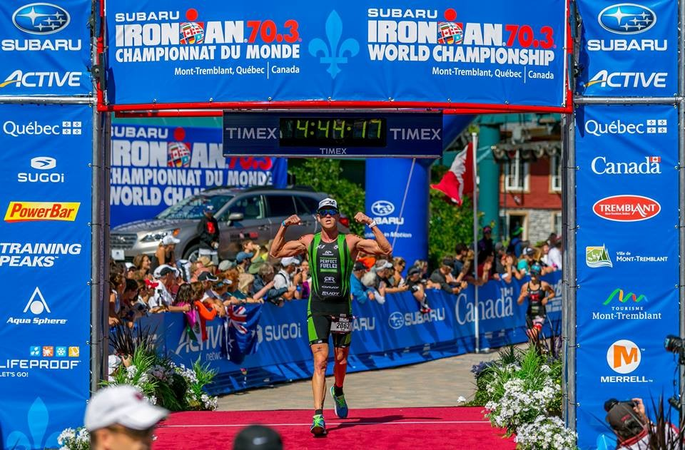 Finish line of the 2014 Ironman 70.3 World Championship in Mont Tremblant, Quebec