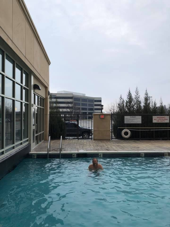 Outdoor swim in Indy 2/9/20. The temperature was 27 degrees Fahrenheit.