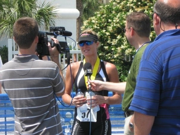 Was being interviewed by a t.v. station after a great race at Gulf Coast Half Ironman.