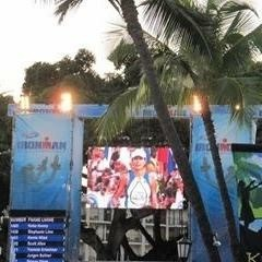 Someone actually got of photo of me crossing the finish line at Kona.