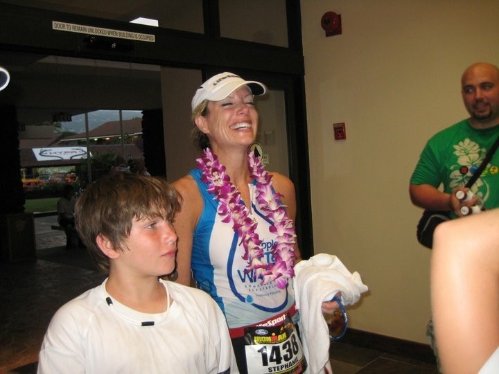 This is a photo right after I finished my ironman in Kona.  I was so happy to be done!